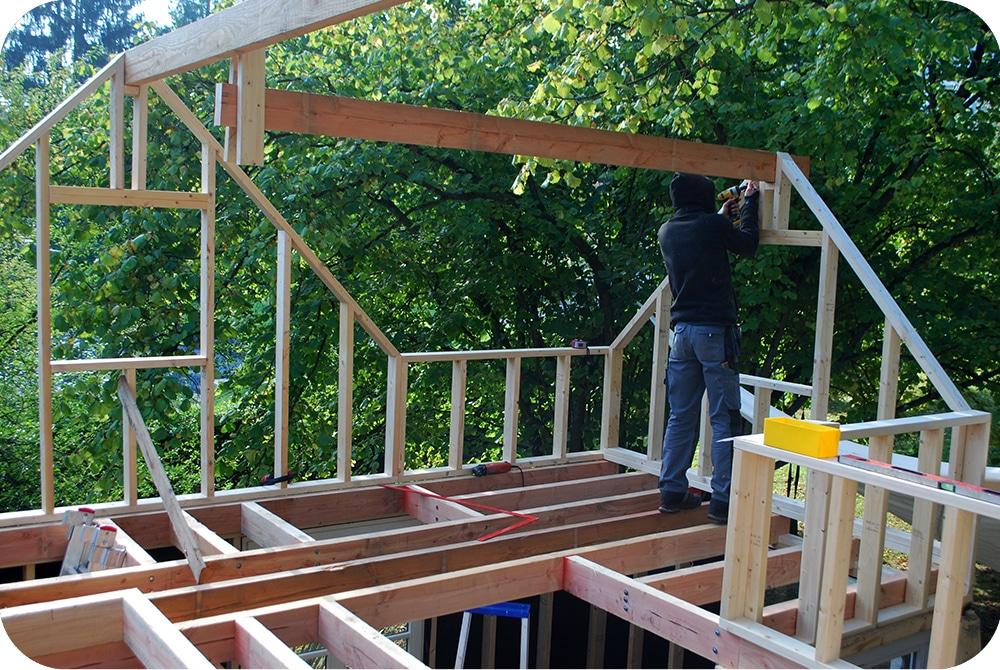 Houtskelet opbouw voor gastenverblijf Esneux