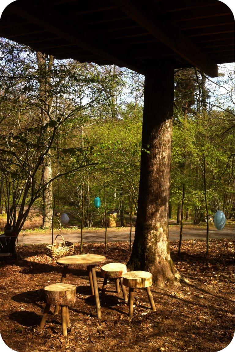 Krukjes van boomstammen onder de boomhut
