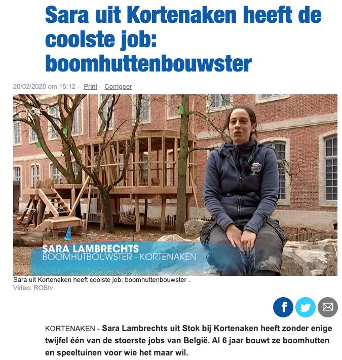 Boomhutbouwster Nieuwsblad